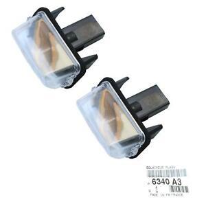2-Kennzeichenleuchte-Nummerschildbeleuchtung-Citroen-Peugeot-original-6340A3