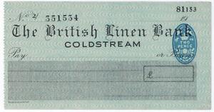 I-B-George-VI-Revenue-Cheque-Duty-2d-British-Linen-Bank-Coldstream