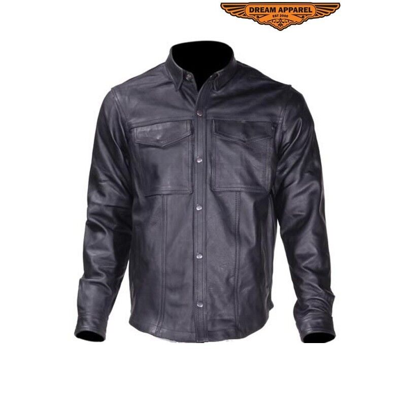 Men's Motorcycle Biker Leather Shirt With Snap On Cuffs Great Deal SizeS-6XL