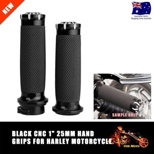 """Black CNC 1/"""" handlebar handgrips Harley Touring Sportster Dyna Softail VRSC 25mm"""