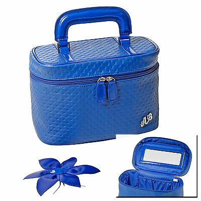 Blue Faux Leather Vanity Case Cosmetic Make Up Toiletry Beauty Bag Storage New