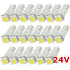 20PCS White T5 17 18 27 5050 1SMD Dashboard Instrument Gauge Panel Bulb 24V