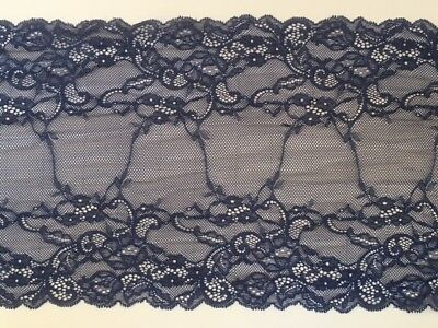 """Stunning Delicate Navy Blue Wide Stretch Tulle Lace Trim 9/""""//22.5cm laverslace"""