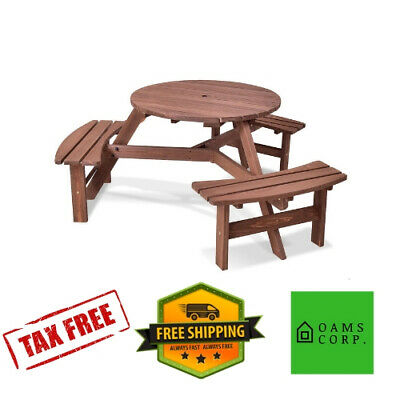 Strange 6 Person Outdoor Wood Patio Picnic Table Bench Seat Furniture Set Umbrella Hole Ebay Squirreltailoven Fun Painted Chair Ideas Images Squirreltailovenorg