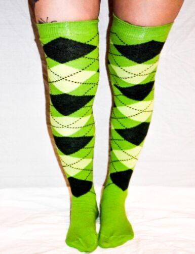 Green and Dark Green Argyle patterned Over The Knee Socks