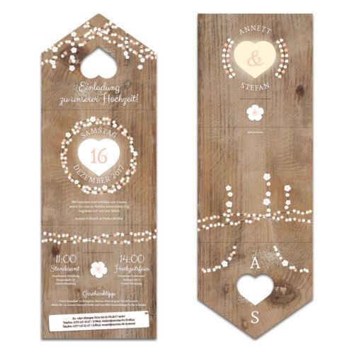 Lasergeschnittene Hochzeit Einladungskarten Einladung rustikale Lichtgirlande