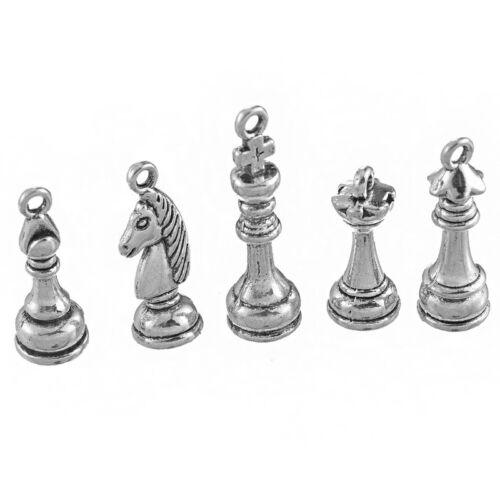 5Stk Mix Antik Silber Metall Anhänger für Halskette Charms Vintage Pendant