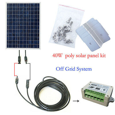40Watt OFF GRID COMPLETE KIT: 40W Poly Solar Panel for 12V Home system RV Boat