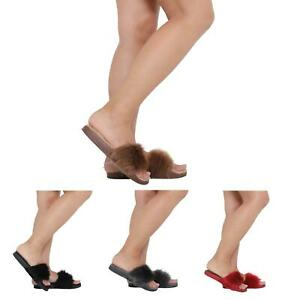 NEW-WOMENS-LADIES-FLAT-FULLY-FAUX-FUR-COMFY-SLIDER-SANDALS-SIZE-3-8