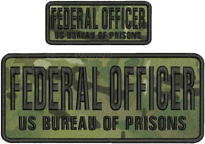 FEDERAL OFFICER BUREAU OF PRISONS EMBROIDERY PATCH 4X10/&2X5 HOOK ON BACK BLK//GRA