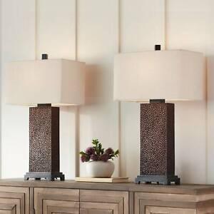 Modern Table Lamps Set of 2 Speckled Brown Rectangular Shade Living Room Bedroom
