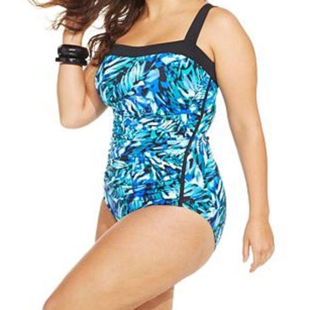48eb7573964 INC International Concepts One Piece Sz 16W Aqua Blue Swimsuit Ruched  470903W