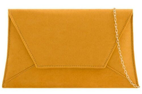 Mustard Clutch Bag Yellow Faux Suede Slim Evening Envelope Purse Shoulder Bag