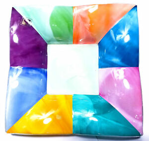 Glassware-Modern-Art-Glass-Dish-Bowl-Plate-Platter-7x7-Inch-Colorful