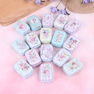 Small Flower Tin Trinket Jewelry Coin Tea Coffee Box Tinplate Gift Storage Case