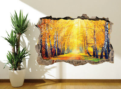 Autumn Forest Trees Sunlight  #14269 2 x Heart Stickers 7.5 cm