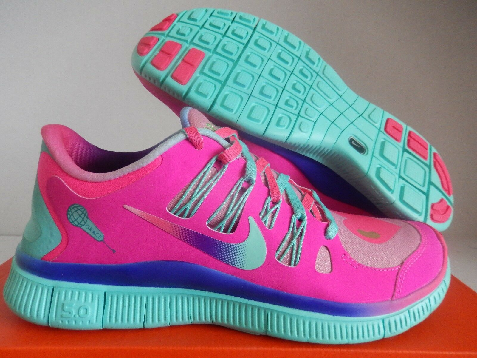 NIKE FREE 5.0 DB DOERNBECHER HYPER PINK-TURQUOISE-gold SZ 8
