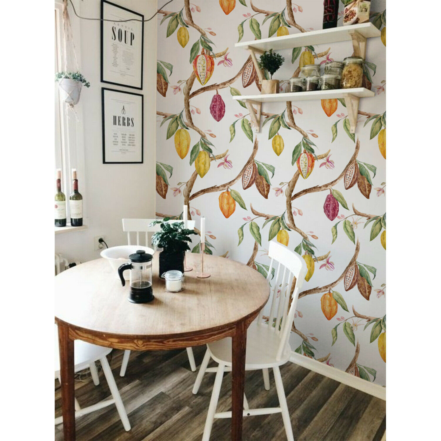 Cocoa Fruits Non-Woven Wallpaper roll Weiß wall Home Mural Traditional Decor