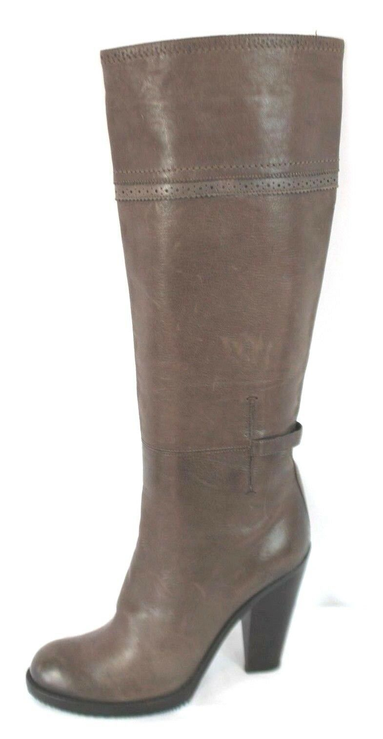 $685 COSTUME NATIONAL Brown Leather Knee-High Pull On Boots Shoes Size 41 Italy