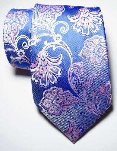 New Classic Floral Blue Pink  JACQUARD WOVEN 100/% Silk Men/'s Tie Necktie