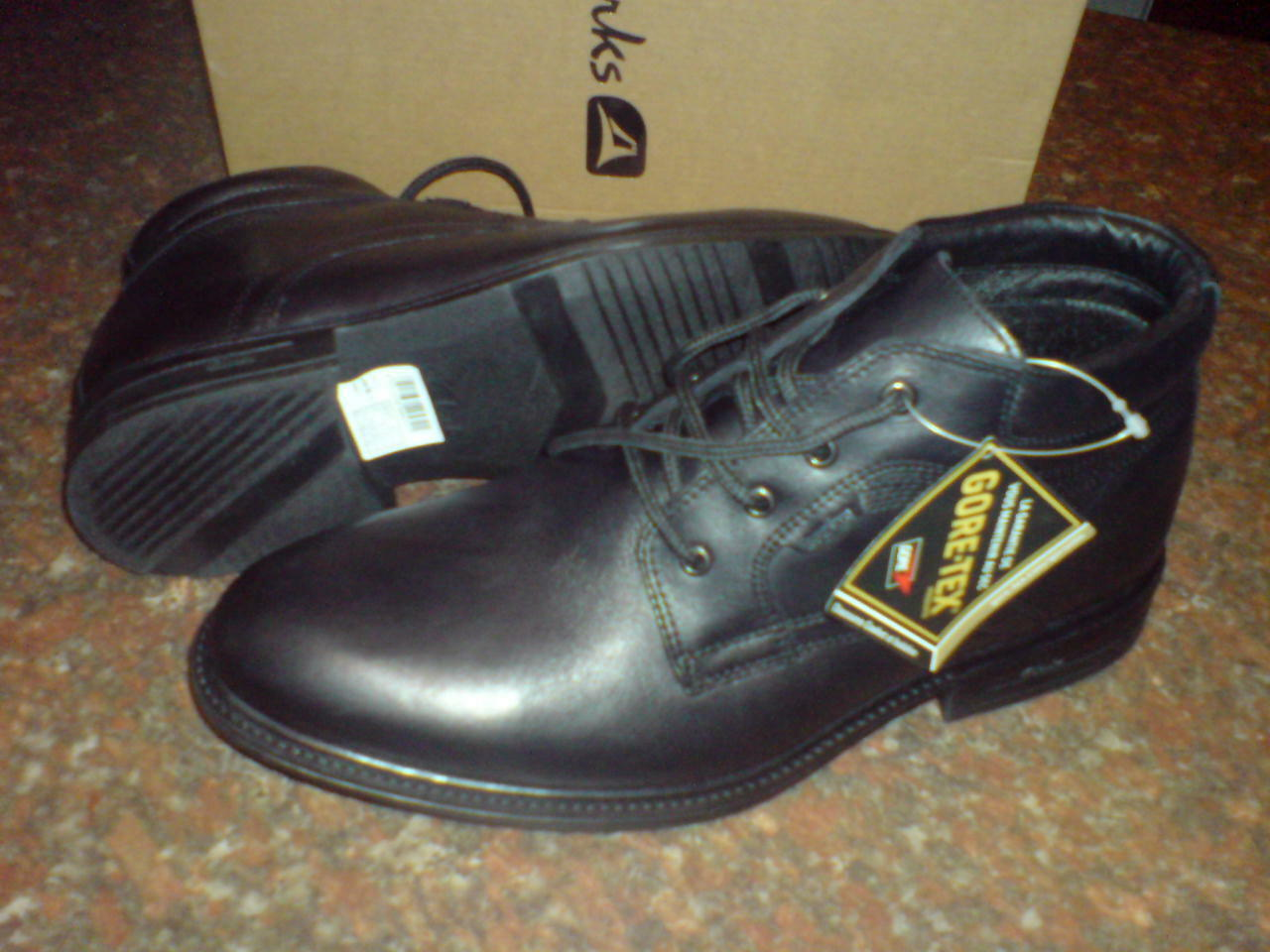 New Clarks MEN FALL PROOF GTX  WARM LINING&SOCK BOOT BLACK LEATHER  UK 7.5