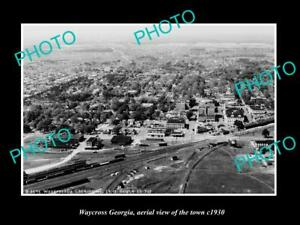 OLD-POSTCARD-SIZE-PHOTO-WAYCROSS-GEORGIA-AERIAL-VIEW-OF-THE-TOWN-c1930