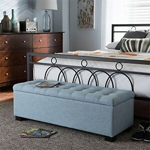 Awe Inspiring Details About Contemporary Light Blue Fabric Upholstered Grid Tufting Storage Ottoman Bench Cjindustries Chair Design For Home Cjindustriesco