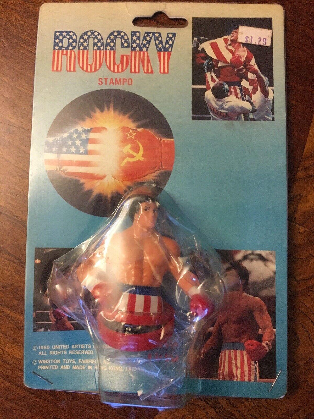 Rare Vintage 1985 Rocky Balboa Figurine Stamp Stamper SEALED  Winston Toys