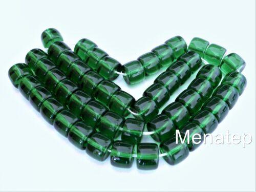 Kelly Green 25 7 x 9 mm Czech Glass Druk Roller Beads