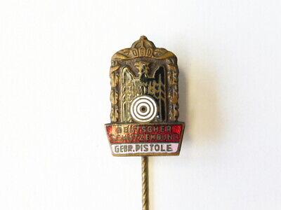 """Deutscher Schützenbund Abzeichen & Nadeln Bis 1945 Pins & Anstecknadeln 20mm Nadel """"pistole """" In Bronze"""