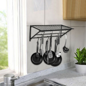 Kitchen-Saucepan-Pot-Pan-Rack-Hanger-Wall-Mounted-Hanging-Storage-Shelf-Holder