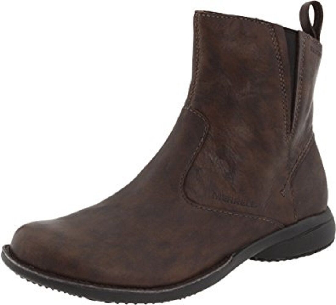 Womens Size 5.5 MERRELL Tetra Catch Waterproof Leather Ankle Boots Dark Brown