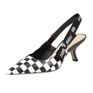 53e0b3e6349 NIB CHRISTIAN DIOR Black White Check J ADIOR Slingback Pumps Shoes 7 ...