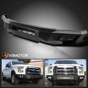 Details About Fit 2015 2017 Ford F150 Raptor Style Black Steel Front Bumper Without Led Lights
