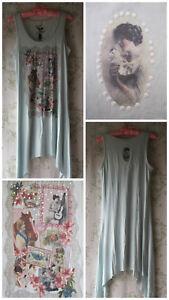 Rare-Vtg-20s-Flapper-Pinup-Lady-Kitten-Cat-Horse-Floral-Lace-Print-Mini-Dress