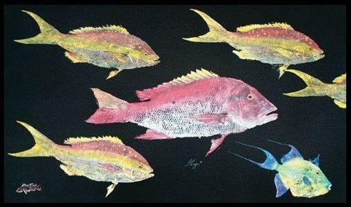 Realfish Gyoyaku Series Snapper Mutton Queen Trigger Collage Area Rug 36x60