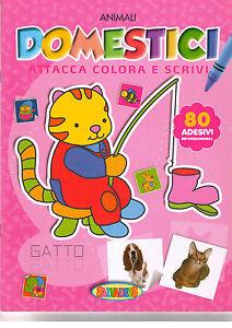 Attacca colora e scrivi animali domestici - Salvadeos - Libro Nuovo in offerta!
