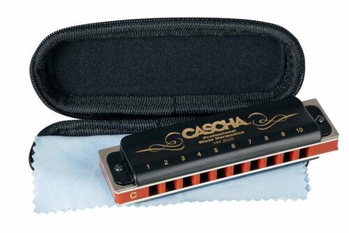 Cascha Professional Blues Mundharmonika C-Dur 10-Loch diatonisch Etui Pflegetuch
