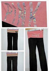 Victoria-039-s-Secret-VS-Pink-Yoga-Pant-Lot-of-2-Foldover-Yoga-Pants-Size-Small-Long