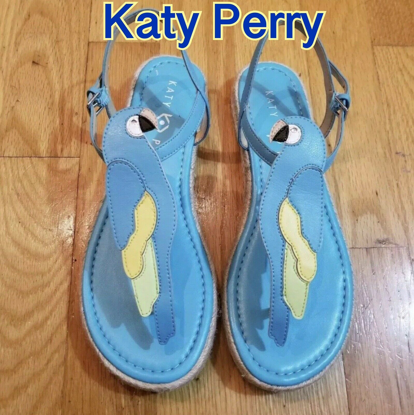 Size 8.5 New KATY PERRY Polly Parred Flat Espadrille Sandals