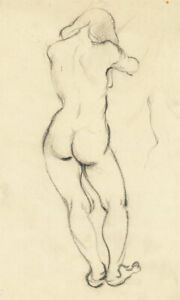 Peter Collins ARCA - c.1970s Charcoal Drawing, Standing Nude Back View