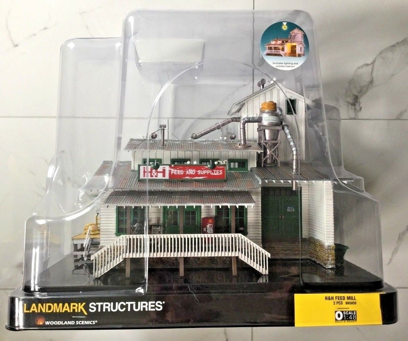 WOODLAND SCENICS 1/48 O SCALE H&H FEED MILL BUILT & READY W/ LIGHTS  BR 5859 F/S