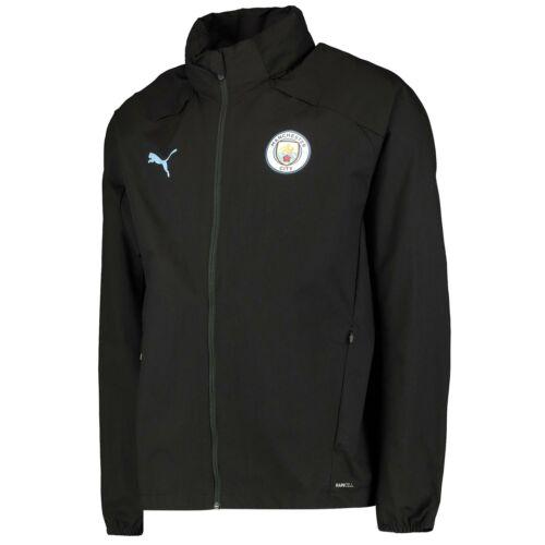 Puma Ufficiale Da Uomo Manchester City FC Calcio Formazione Rain Jacket TOP NERO