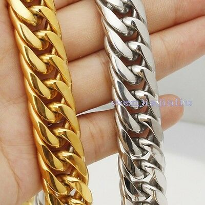 "16mm/20mm Huge Stainless Steel Silver/Gold Link Chain Real Men's Necklace 9""-36"""