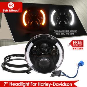 7 Inch 1965-2017 Harley Road king LED Headlamp DRL Light+Black Mounting Bracket