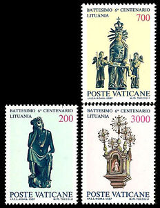 VATICAN CITY. Christianization of Lithuania. 1987. Scott 785-787. MNH