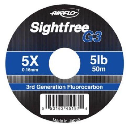 Airflo NEW Sightfree G3 Fluorocarbon 50 metres Fly /& Salmon Fishing Leader Line