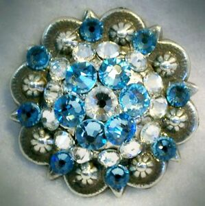 Antique Silver Berry Concho ~ Hand Crafted Light Blue Swarovski Elements