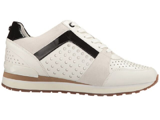 fef2a2b1c9f Michael Kors Women's Billie Trainer Lasered Leather White Sneakers Shoes  7.5 -10