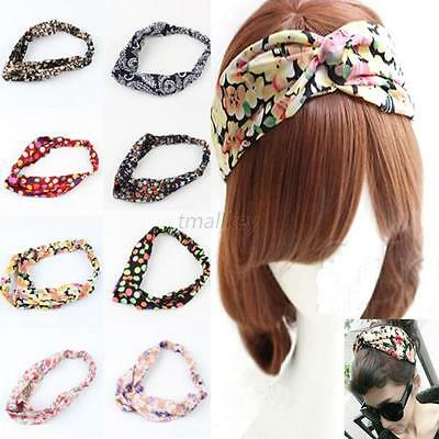 Womens Girls Casual Yoga Elastic Turban Twisted Knotted Hair Band Headband Hot